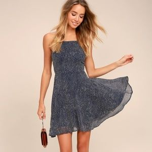 Lulus Happy Together Polka Dot Lace-Up Dress Navy